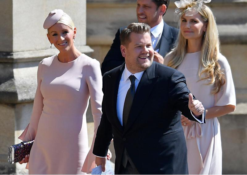 Actor and TV host James Corden and his wife, Julia Carey, arrive at the royal wedding on May 19.