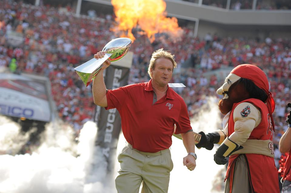 Former Tampa Bay Buccaneers head coach Jon Gruden on the field as the Buccaneers honor their 2002 Super Bowl winning team in 2012.