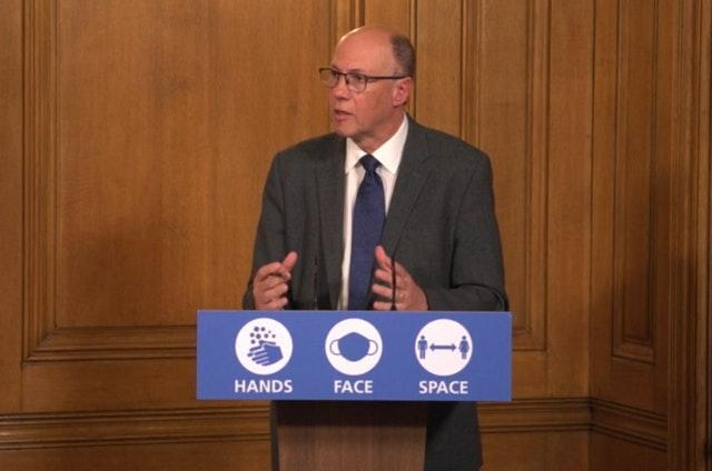 Professor Stephen Powis during a media briefing in Downing Street
