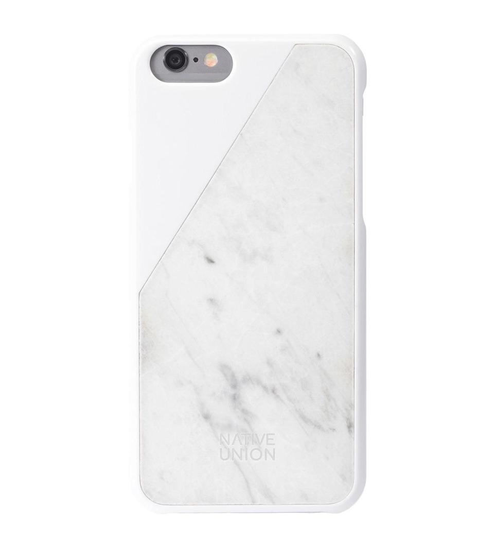"""<p>Every iPhone user needs a marble phone case and this white one is extra chic. <a href=""""http://www.nativeunion.com/clic-marble/"""" rel=""""nofollow noopener"""" target=""""_blank"""" data-ylk=""""slk:Native Union Clic Marble iPhone Case"""" class=""""link rapid-noclick-resp"""">Native Union Clic Marble iPhone Case</a> ($80)<br></p>"""