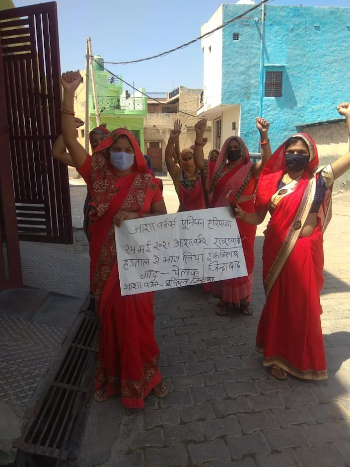 ASHA Workers from Pelak village in Haryana participating in a Nationwide protest on May 25 this year