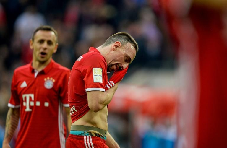 Bayern Munich's French midfielder Franck Ribery reacts during the German First division Bundesliga football match between 1 FC Cologne and FC Bayern Munich in Cologne, western Germany, on March 4, 2017
