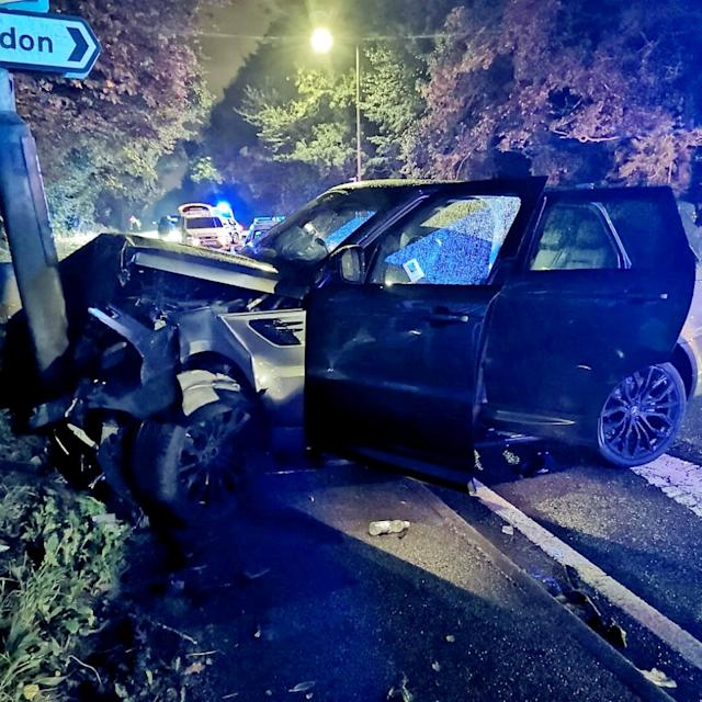 The crash in the Allestree area of Derby, where Tom Lawrence and Mason Bennett of Derby County were arrested. (SWNS)