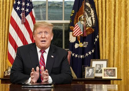 U.S. President Trump delivers televised address about immigration and the U.S. southern border from the Oval Office in Washington