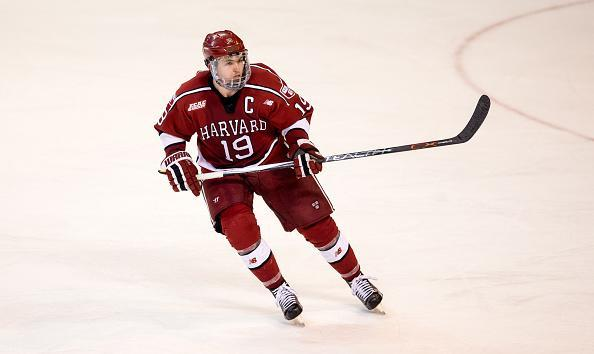 WORCESTER, MA - MARCH 25: Jimmy Vesey #19 of the Harvard Crimson skates against the Boston College Eagles during game two of the NCAA Division I Men's Ice Hockey Northeast Regional Championship Semifinals at the DCU Center on March 25, 2016 in Worcester, Massachusetts. The Eagles won 4-1. (Photo by Richard T Gagnon/Getty Images)