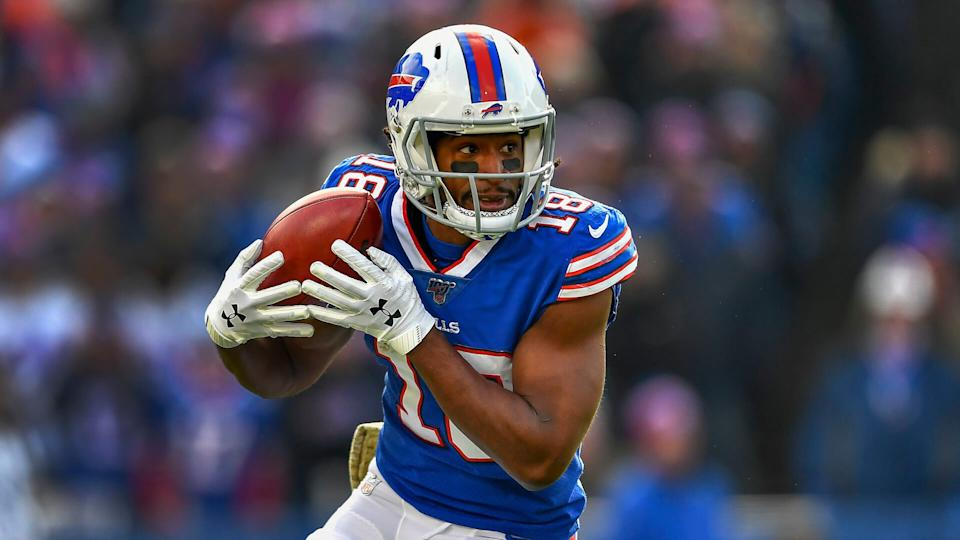 Mandatory Credit: Photo by Adrian Kraus/AP/Shutterstock (10484813b)Buffalo Bills wide receiver Andre Roberts (18) warms up before playing against the Denver Broncos in an NFL football game, in Orchard Park, N.