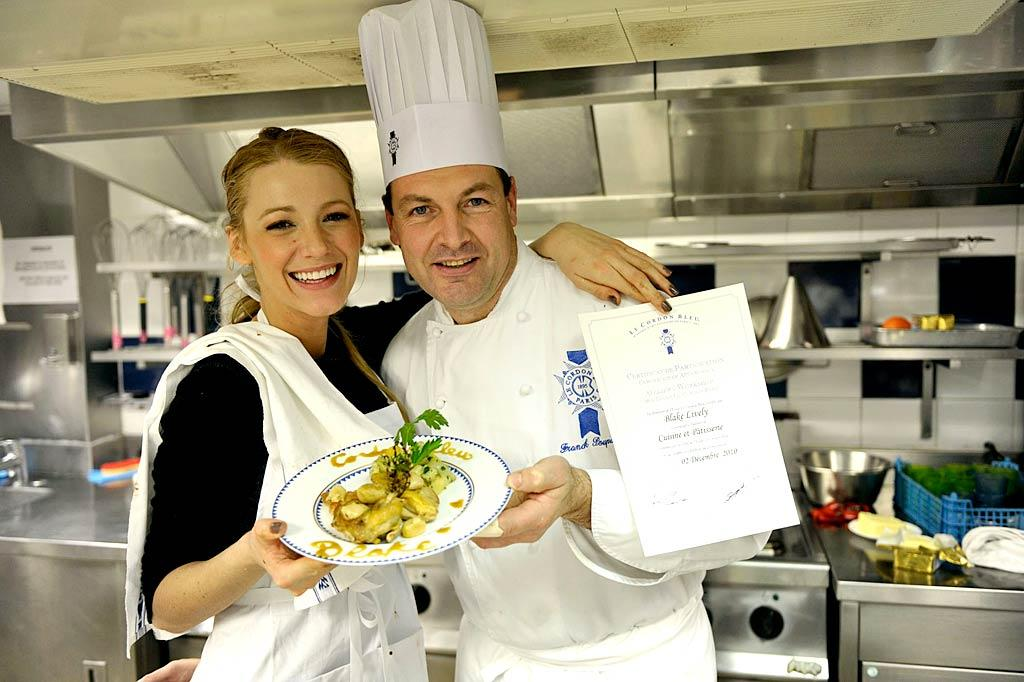"""""""Gossip Girl"""" star Blake Lively made one of her dreams come true with a trip to Le Cordon Bleu culinary workshop in Paris, France, on Sunday. """"My dream as a passionate cook has been to go to Le Cordon Bleu. Never could my most incredible dream have lived up to the experience,"""" she said. """"The food, the lesson, the chef, the ingredients -- all the best of the best."""" Le Cordon Bleu/<a href=""""http://www.splashnewsonline.com"""" target=""""new"""">Splash News</a> - December 19, 2010"""