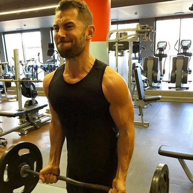 The actor works out at the gym and credits triathlons for transforming his life. Source: Instagram