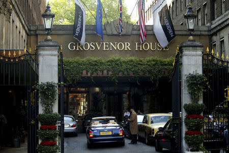 File picture shows the entrance to the Grosvenor House Hotel in Park Lane in London