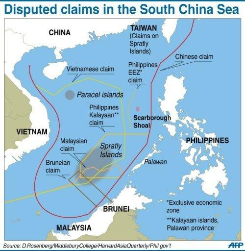 Graphic on the disputed boundaries in the South China Sea. The Philippines has hailed the start of major war games with the United States as a timely boost to their military alliance, amid an increasingly tense territorial dispute with China