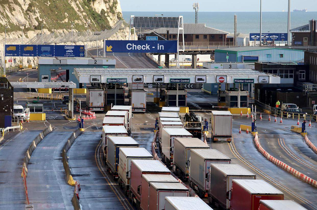 Lorries queue for the frontier control area at the Port of Dover in Kent, where freight Channel traffic is returning to normal levels following a quiet start to the year and the end of the transition period with the European Union on December 31. Picture date: Friday January 22, 2021.
