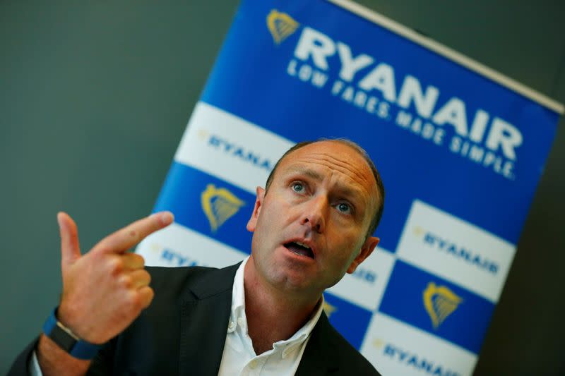FILE PHOTO: Jacobs, Chief Marketing Officer of Ryanair addresses the media during a news conference in Frankfurt