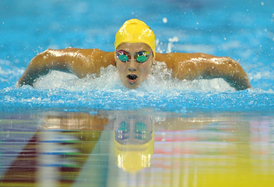 Australia's Stephanie Rice competes in the final of the women's 200-meter individual medley swimming event in the FINA World Championships at the indoor stadium of the Oriental Sports Center in Shanghai on July 25, 2011. (MARK RALSTON/AFP/Getty Images)