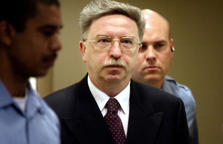 Nikola Sainovic, who was a deputy prime minister for Serbia's Slobodan Milosevic, at his trial in The Hague in 2002. He became a top Socialist Party official upon his release from prison
