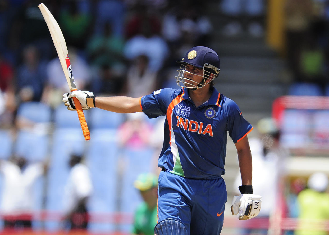 2 May 2010: Coming in to bat in the first over of the Group C match against South Africa at St Lucia in the 2010 ICC Twenty20 World Cup, Suresh Raina hit nine boundaries and five sixes in his 60-ball 101 that helped India score 186 for 5 and beat the Proteas by 14 runs.