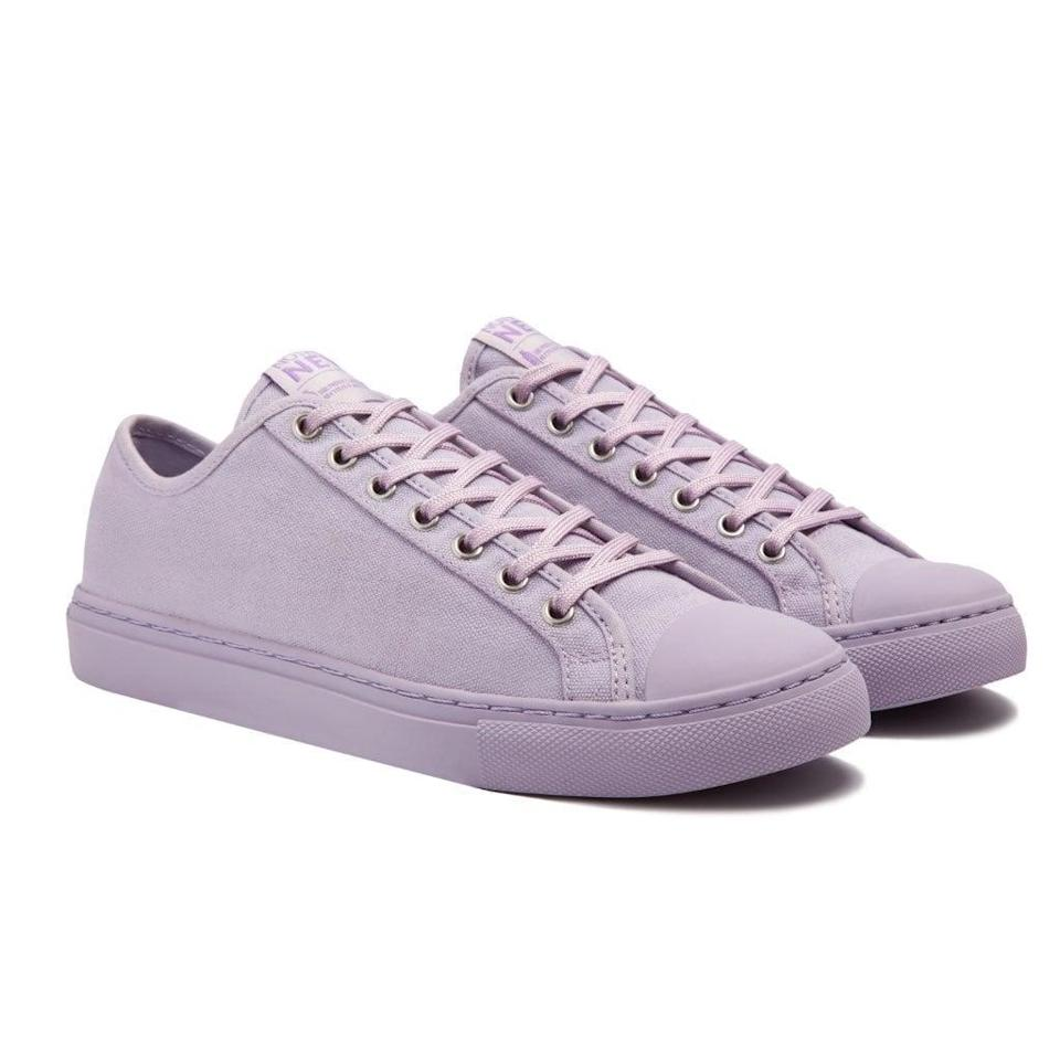 """<p>This <a href=""""https://nothingnew.com/products/womens-low-top-lavender?collection=womens-sneakers"""" class=""""link rapid-noclick-resp"""" rel=""""nofollow noopener"""" target=""""_blank"""" data-ylk=""""slk:Nothing New Low Top"""">Nothing New Low Top</a> ($95) is made of 100 percent recycled materials. Between that and its super sleek monochromatic look, we won't blame you if you immediately add to cart.</p>"""