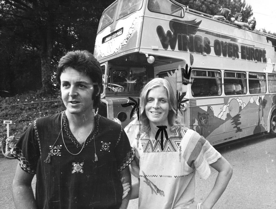 FRANCE - JANUARY 17:  Paul and Linda McCartney on tour with 'Wings', South of France, 1979. Ex-Beatle McCartney formed Wings with his wife Linda who died in 1998.  (Photo by Daily Herald Archive/SSPL/Getty Images)