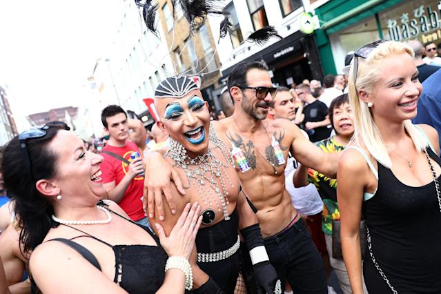 <p>People in Soho relax following the annual Pride in London Parade, in London, Britain, July 8, 2017. (Photo: Neil Hall/Reuters) </p>