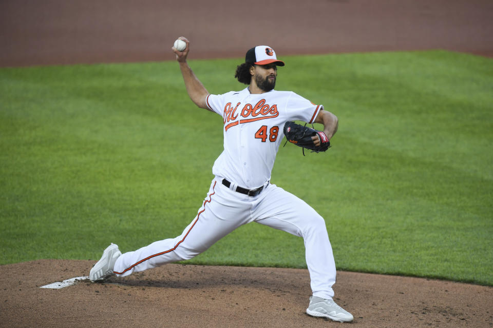 Baltimore Orioles starting pitcher Jorge Lopez (48) throws during the first inning of baseball game Boston Red Sox, Monday, May 10, 2021, in Baltimore. (AP Photo/Terrance Williams)