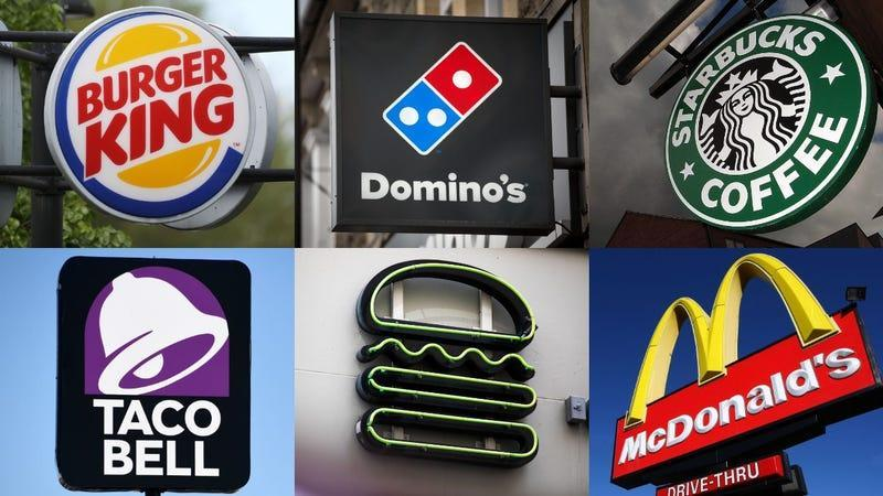 Collage of signs from Burger King, Domino's, Starbucks, Taco Bell, Shake Shack, and McDonald's