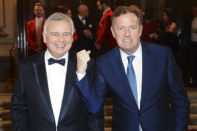 Piers Morgan (right) and Eamonn Holmes attend the ITV Gala at London Palladium in 2015. (Dave J Hogan/Dave J Hogan/Getty Images)