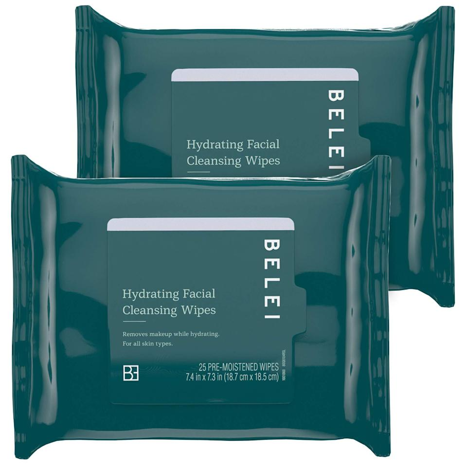 "<h3><strong>Hydrating Facial Cleansing Wipes</strong></h3> <br>""These makeup wipes feel like velvet — super soft and feel much more luxurious than their $9 price point. Although they're hydrating, these makeup wipes are very cleansing and have made my facial cleansing routine a breeze. They can also substitute your cleanser in the morning if you're in a rush, but still want to feel refreshed and hydrated in one step."" — Amani Richardson, social media intern<br><br>""Unlike the Belei Vitamin C + HA Serum, these I loved. They feel and act as an exact dupe to the more expensive <a href=""https://www.sephora.com/product/cleansing-spa-water-cloths-P294018"" rel=""nofollow noopener"" target=""_blank"" data-ylk=""slk:Koh Gen Do cleansing spa cloths"" class=""link rapid-noclick-resp"">Koh Gen Do cleansing spa cloths</a> I currently use. I will absolutely be switching to these cheaper facial wipes from Amazon."" — Rosenblum<br><br><strong>Belei</strong> Hydrating Facial Cleansing Wipes (Pack of 2), $, available at <a href=""https://amzn.to/3dlPH37"" rel=""nofollow noopener"" target=""_blank"" data-ylk=""slk:Amazon"" class=""link rapid-noclick-resp"">Amazon</a><br><br><br>"