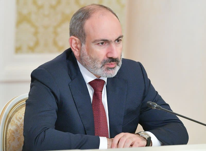 Armenia's acting Prime Minister Nikol Pashinyan attends a meeting with Russia's Prime Minister Mikhail Mishustin in Kazan