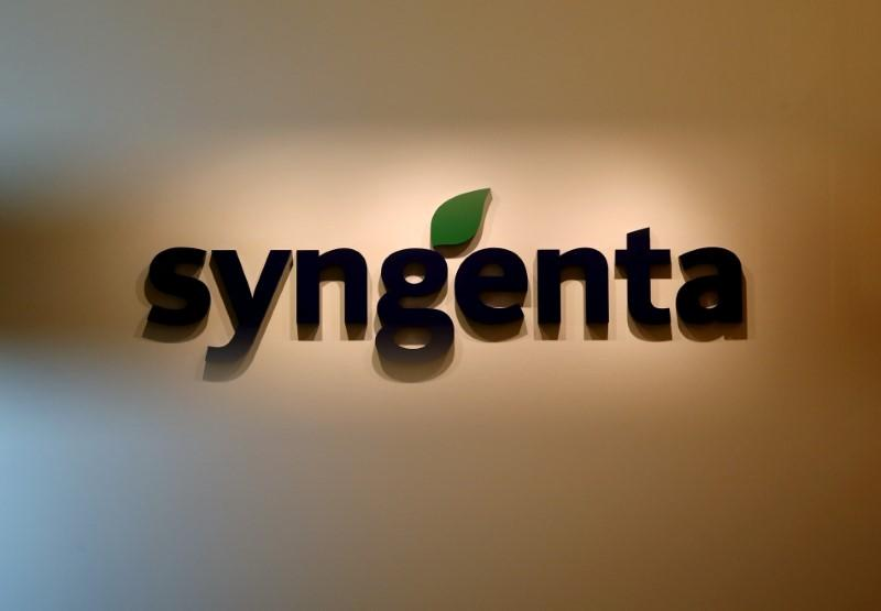 A Syngenta logo is pictured in their office in Singapore