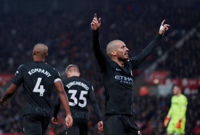 "Soccer Football - Premier League - Stoke City vs Manchester City - bet365 Stadium, Stoke-on-Trent, Britain - March 12, 2018 Manchester City's David Silva celebrates scoring their second goal Action Images via Reuters/Andrew Couldridge EDITORIAL USE ONLY. No use with unauthorized audio, video, data, fixture lists, club/league logos or ""live"" services. Online in-match use limited to 75 images, no video emulation. No use in betting, games or single club/league/player publications. Please contact your account representative for further details."
