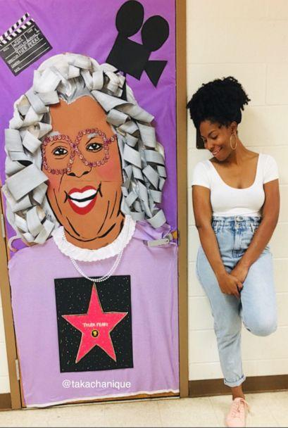 PHOTO: Chanique Davis honored legendary entertainer, Tyler Perry, by decorating her door with his famous character, Madea. (Courtesy Chanique Davis)