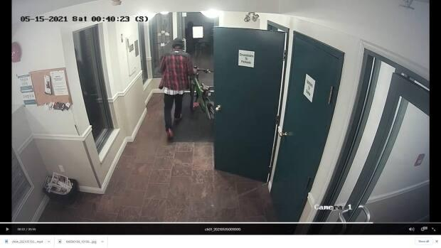 The thieves then left with the stolen bikes through the building's front door in the middle of the night.