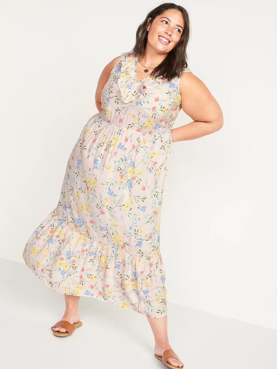 <p>The print of this <span>Old Navy Sleeveless Ruffled V-Neck Plus-Size Midi Swing Dress</span> ($43) is so charming and cute, you'll wear it all the time.</p>