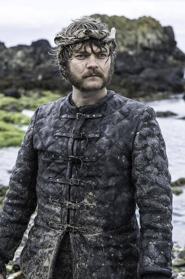"<p>If the Greyjoys always look a little oily and dirty, there's a reason. As Clapton explained to the <a href=""http://www.latimes.com/entertainment/la-et-game-thrones-costumes-pictures-photogallery.html"" rel=""nofollow noopener"" target=""_blank"" data-ylk=""slk:L.A. Times"" class=""link rapid-noclick-resp"">L.A. Times</a>, "" If they live on a windy, rocky island, like the Greyjoys do, then they dress accordingly: They have costumes made of heavy, densely woven cloth that are waxed and painted with fish oil to help keep out the wind.""<br><br>(Photo Credit: HBO) </p>"
