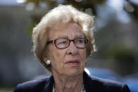 FILE - In this Thursday, March 7, 2019 file photo, Eva Schloss, the stepsister of Anne Frank and a Holocaust survivor, attends a news conference in Newport Beach, Calif. Holocaust survivors around the world are lending their voices to a campaign launched Wednesday July 29, 2020, targeting Facebook head Mark Zuckerberg, urging him to take action to remove denial of the Nazi genocide from the social media site. Eva Schloss is an Auschwitz survivor who today lives in London and has recorded a message for Zuckerberg. (AP Photo/Jae C. Hong, file)