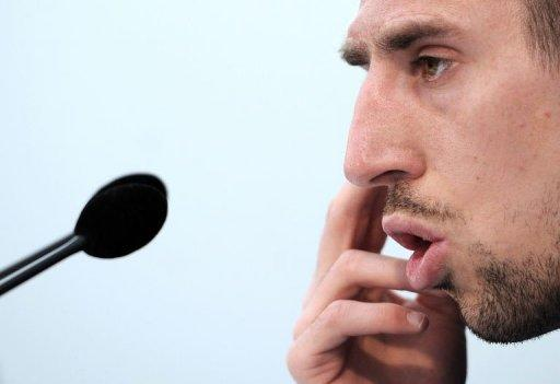 France playmaker Franck Ribery, seen here addressing the press as he gets back in the national team for the first time since the World Cup fiasco, apologised on Monday for his behaviour in the run up to and during a disastrous 2010 season