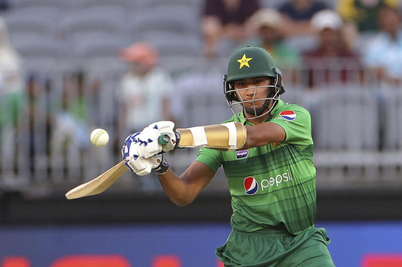 Mohammad Hasnain of Pakistan bats during their T20 cricket match against Australia in Perth, Australia, Friday, Nov. 8, 2019. (Richard Wainwright/AAP Image via AP)