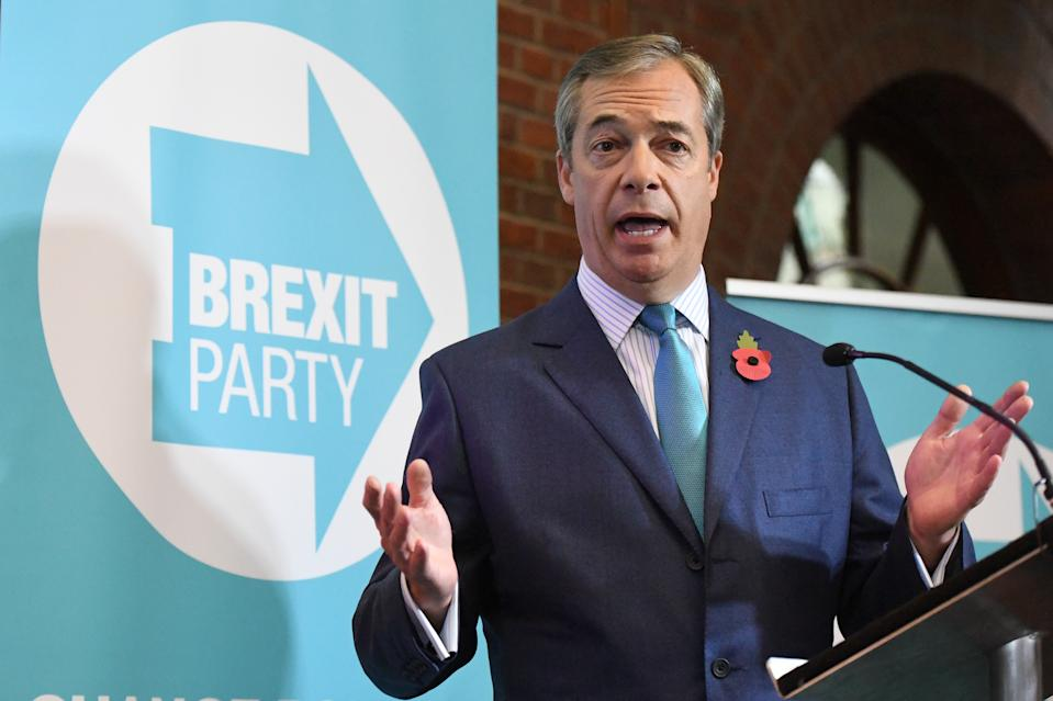 Nigel Farage at the Brexit Party's General Election campaign launch at the Emmanuel Centre in Westminster, London.
