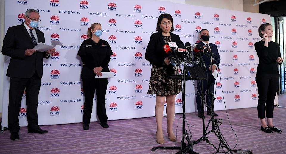 NSW Premier Gladys Berejiklian addresses media during apress conference in Sydney, Tuesday, August 31, 2021. Source: AAP