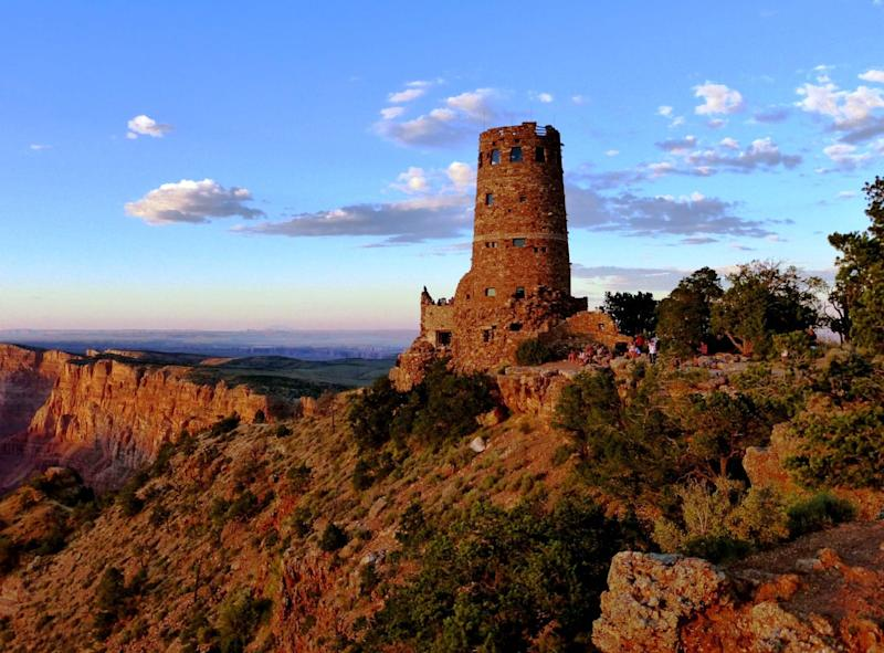 The Desert View Watchtower was originally built in 1932 by architect Mary Colter, in collaboration with Hopi artisans.