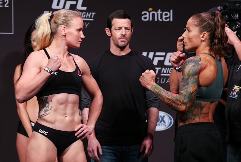 MONTEVIDEO, URUGUAY - AUGUST 09: (L-R) Valentina Shevchenko and Liz Carmouche face off during the UFC Fight Night official weigh-in at Antel Arena on August 9, 2019 in Montevideo, Uruguay. (Photo by Alexandre Schneider /Zuffa LLC/Zuffa LLC)