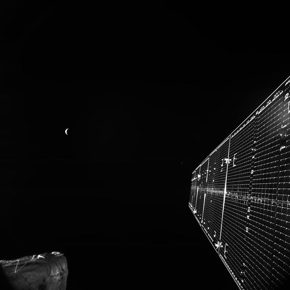 BepiColombo's last picture of Earth, captured on April 11, 2020, before the spacecraft headed deeper into the solar system. The probe will begin orbiting Mercury in December 2025.