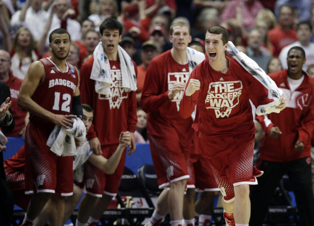 The Wisconsin reacts during the second half in a regional final NCAA college basketball tournament game against Arizona, Saturday, March 29, 2014, in Anaheim, Calif. (AP Photo/Jae C. Hong)