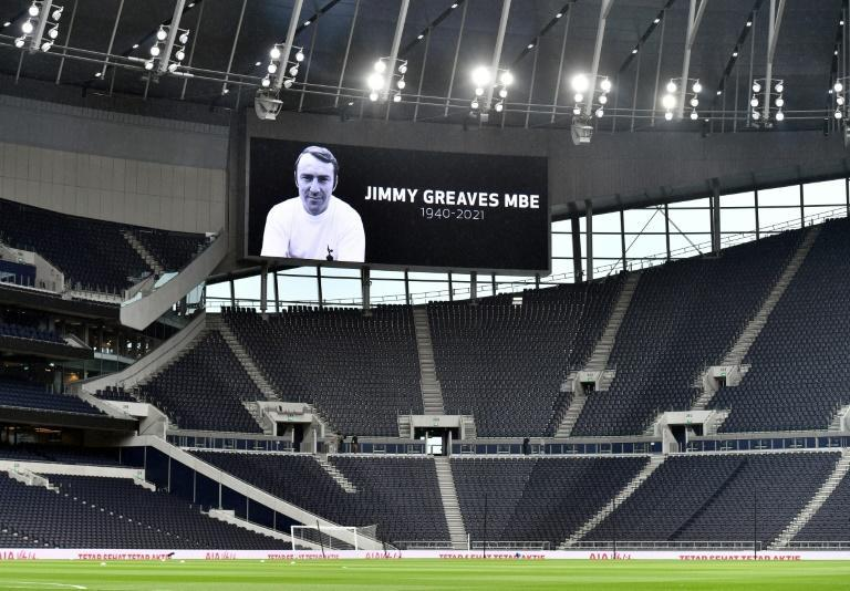 A tribute to Jimmy Greaves, who has died aged 81, at former club Tottenham (AFP/JUSTIN TALLIS)