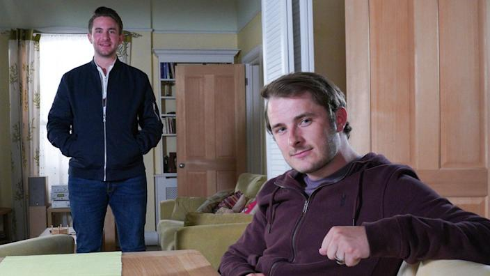 Callum Highway (played by Tony Clay, left) and Ben Mitchell (played by Max Bowden) keep a safe distance