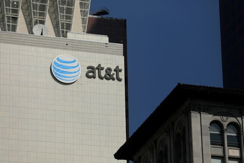FILE PHOTO: The AT&T logo is pictures on a building in Los Angeles