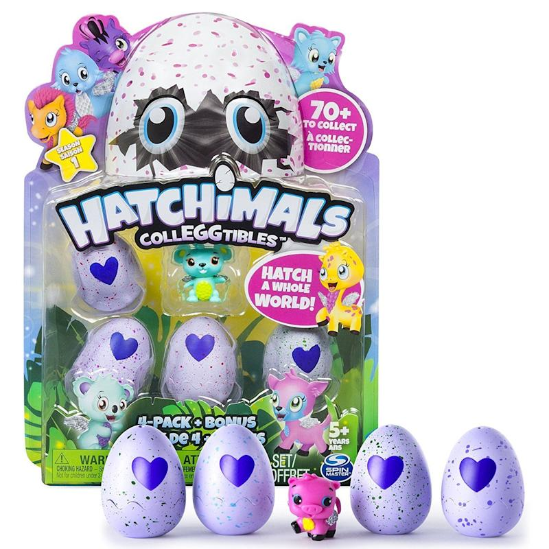 "Hold the egg in your hands, rub the heart and when it changes from purple to pink, it's ready to hatch, and you can collect your Hatchimal. These will make <a href=""https://www.amazon.com/Hatchimals-CollEGGtibles-4-Pack-Styles-Colors/dp/B01LXRU4E1/ref=sr_1_2?ie=UTF8&qid=1508965406&sr=8-2&keywords=%E2%80%A2%09Hatchimals+-+CollEGGtibles+4-Pack+%2B+Bonus"" target=""_blank"">the perfect stocking-stuffer</a> for your little one. <br /><strong>Price: <a href=""https://www.amazon.com/Hatchimals-CollEGGtibles-4-Pack-Styles-Colors/dp/B01LXRU4E1/ref=sr_1_2?ie=UTF8&qid=1508965406&sr=8-2&keywords=%E2%80%A2%09Hatchimals+-+CollEGGtibles+4-Pack+%2B+Bonus"" target=""_blank"">$10</a></strong>"