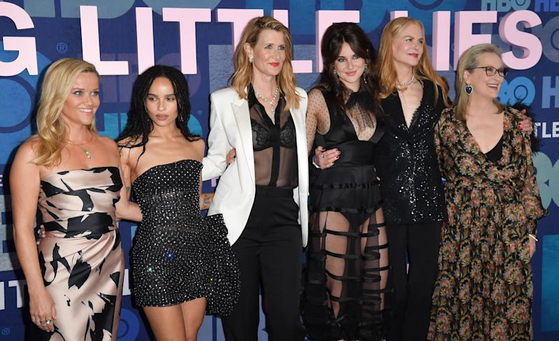 """(FILES) In this file photo taken on May 29, 2019 (L-R) Actresses Reese Witherspoon, ZOe Kravitz, Laura Dern, Shailene Woodley, Nicole Kidman and Meryl Streep attend HBO's """"Big Little Lies"""" Season 2 premiere at Jazz at Lincoln Center on May 29, 2019 in New York City. - From Julia Roberts and Meryl Streep to Reese Witherspoon and Michael Douglas, Hollywood movie stars are being lured to television by higher production values, wider opportunities... and massive paydays. Once the vastly poorer cousin of film, the small screen has enjoyed a stunning renaissance as members of the binge-watching generation swap trips to the multiplex for nights on the couch streaming the latest """"premium"""" hit show. Hollywood's top A-listers are increasingly making the same switch. (Photo by ANGELA WEISS / AFP) (Photo by ANGELA WEISS/AFP via Getty Images)"""