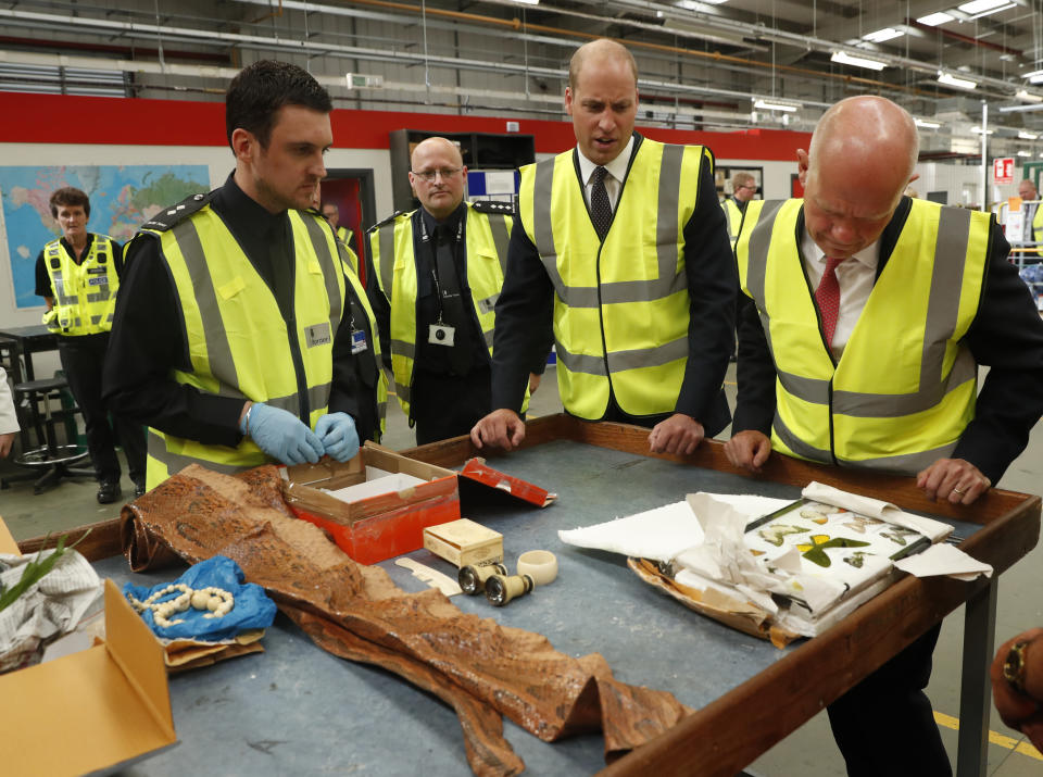 The Duke of Cambridge watches as a UK Border Force shows off their latest seizures, including snake skin and ivory (PA)