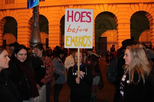 "A protester raises a sign that reads ""hoes before embryos"" at the pro-choice rally."