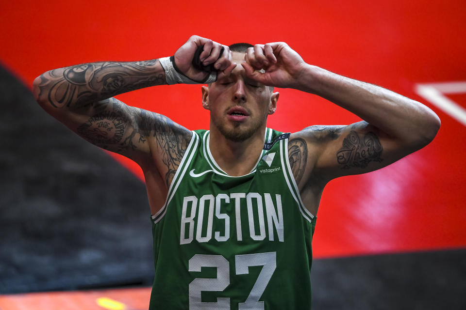 Daniel Theis reacts after the game against the Detroit Pistons.